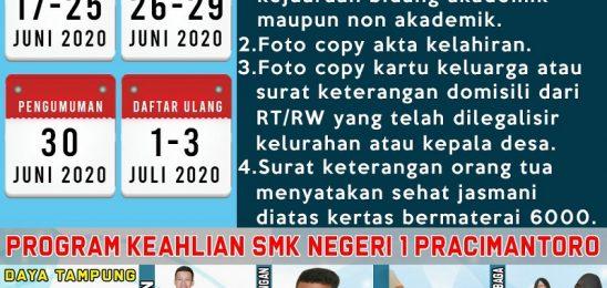 JADWAL DAN SYARAT PENDAFTARAN PPDB 2020 SMKN 1 PRACIMANTORO